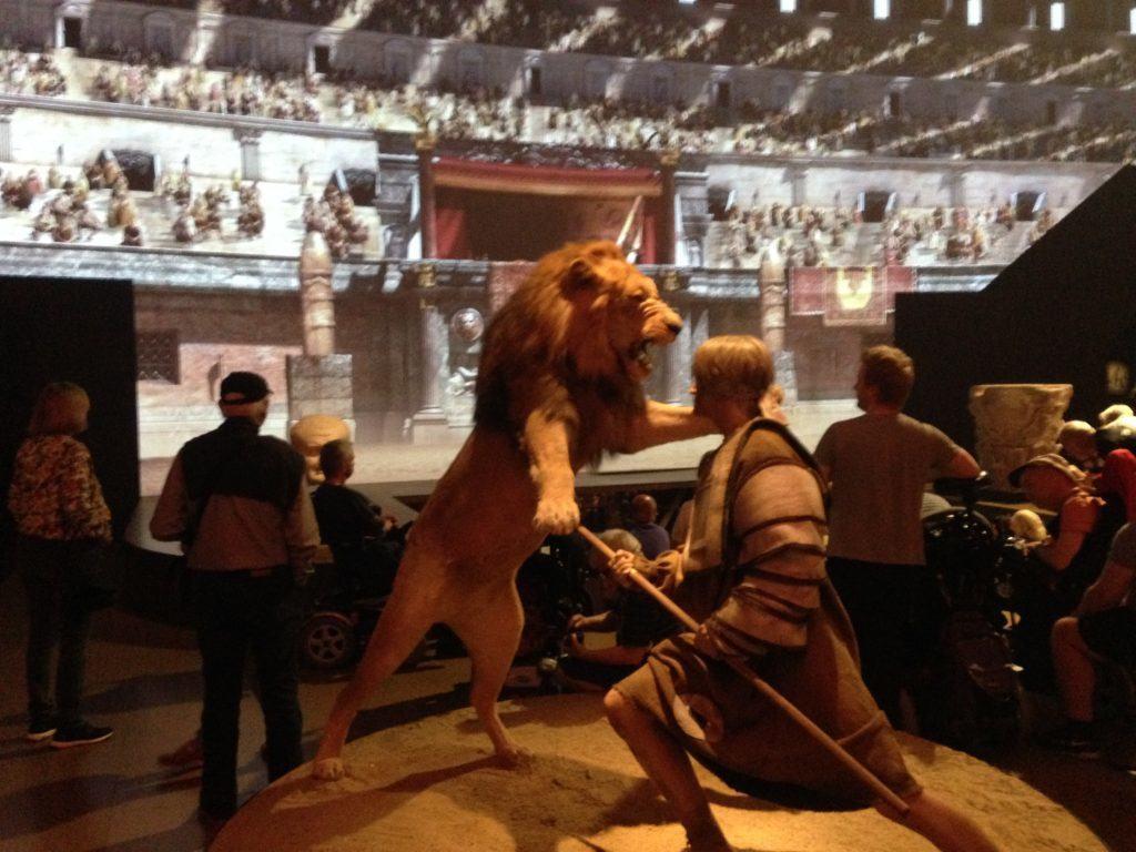 En gladiator der kæmper mod en løve